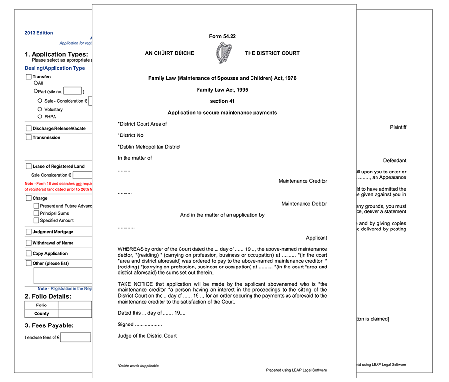 LEAP Legal Software Ireland - Three Republic of Ireland Forms